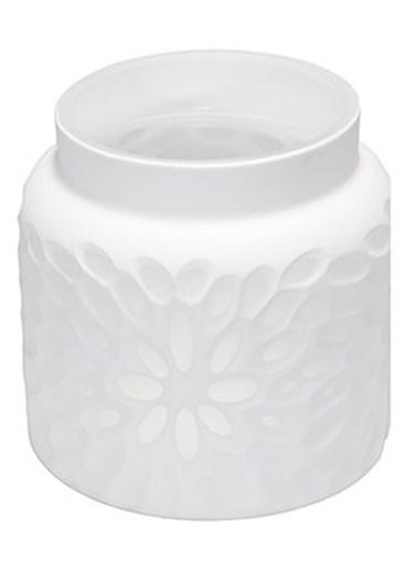 Warm Design Beyaz Cam Mum Vazo Beyaz